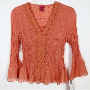 *NWT* SUNNY LEIGH ORANGE CRINKLE SHIRT SZ L